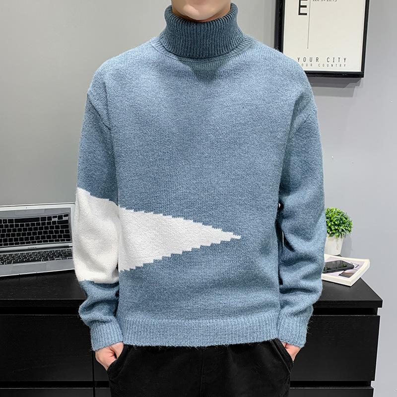 秋冬季毛衣男士高领套头韩版青少年针织衫宽松个性潮流毛线衣潮流