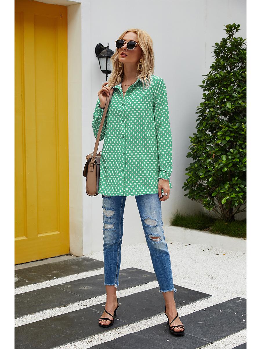 Fashion Polka Dot Top Ladies Long Sleeve Shirt NSAL2091