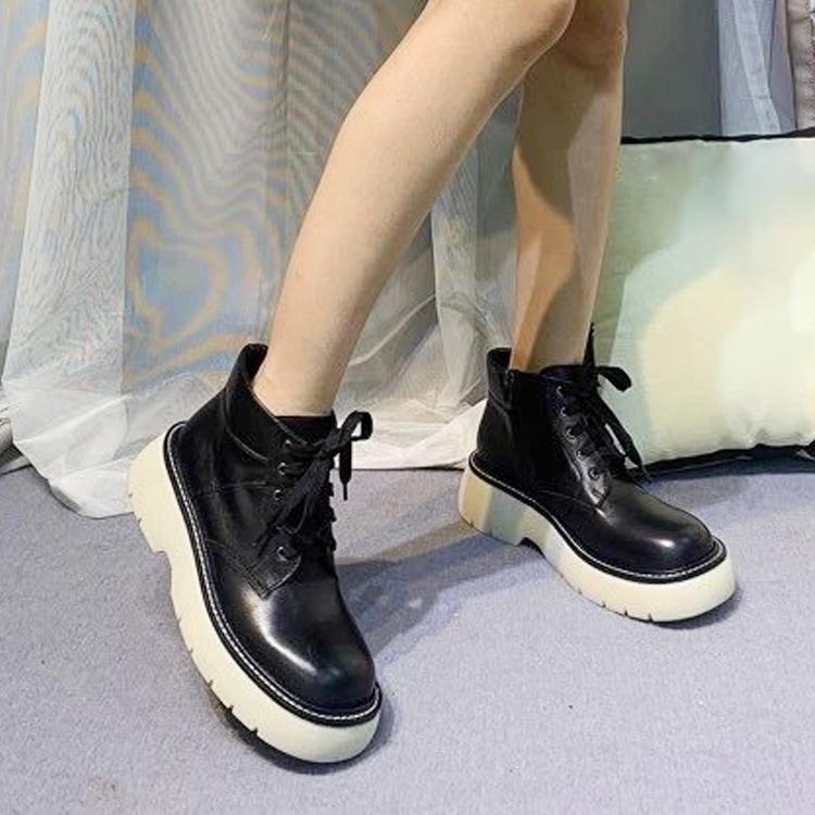 东莞工厂一件代发欧美新款休闲户外登山松糕真皮防水台女鞋单鞋子