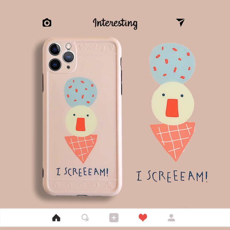 Ice cream stand cover mobile phone case for Iphone XR/SE2/8plus anti-fall soft shell wholesale NHFI239891