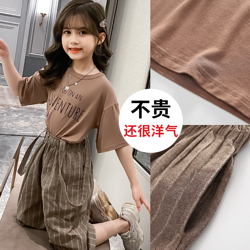 Girls' summer suit 2020 new fashionable children's trousers
