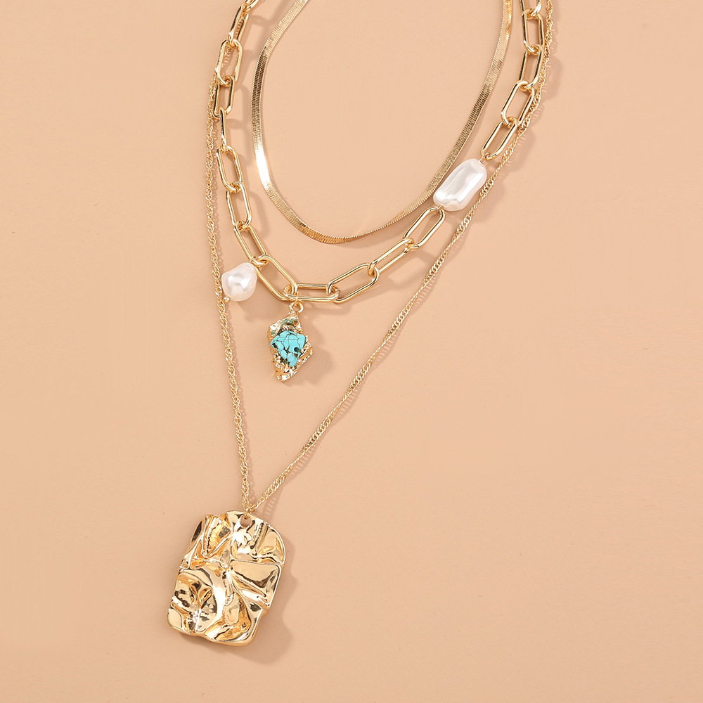 metal exaggerated lattice chain multilayer turquoise pearl necklace  NHAN278761
