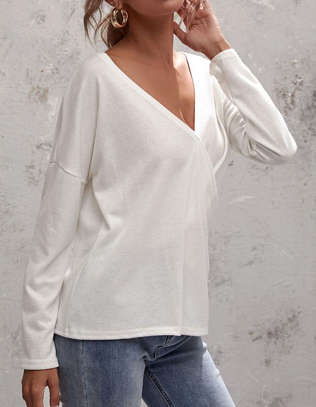 V-neck solid color high-quality sweater  NSYD3744