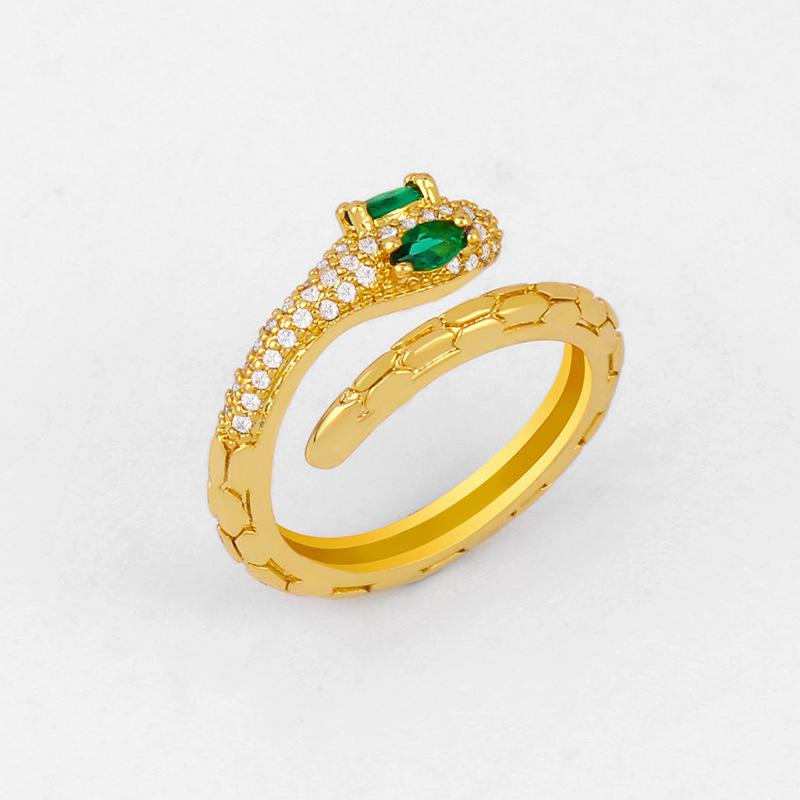 Diamond simple snake ring female adjustable opening snake ring NHAS206556