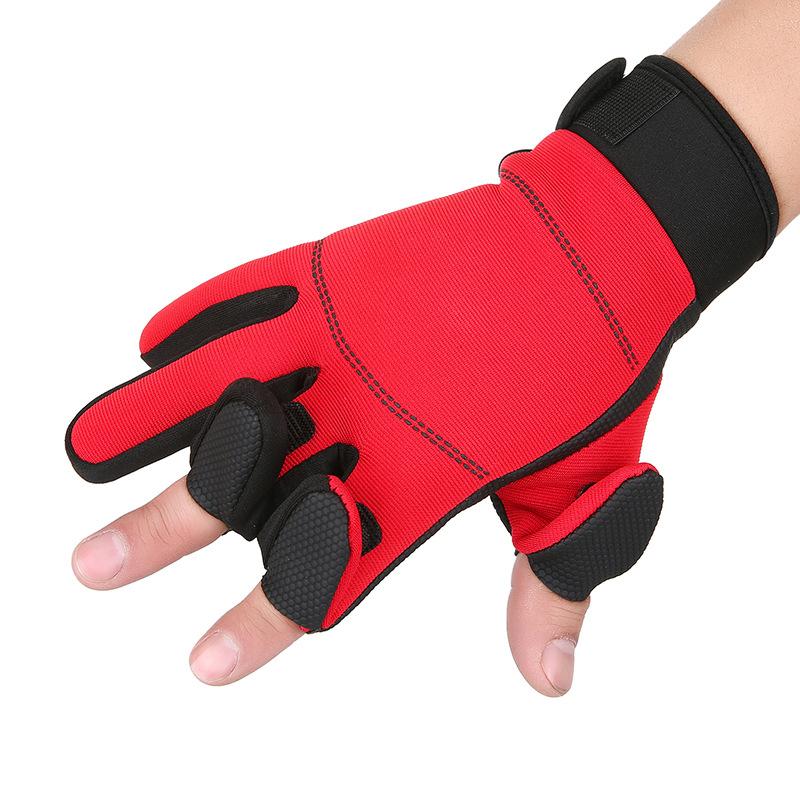 跨境秋冬钓鱼漏三指手套全五指防滑耐磨加绒保暖定制logo骑行手套