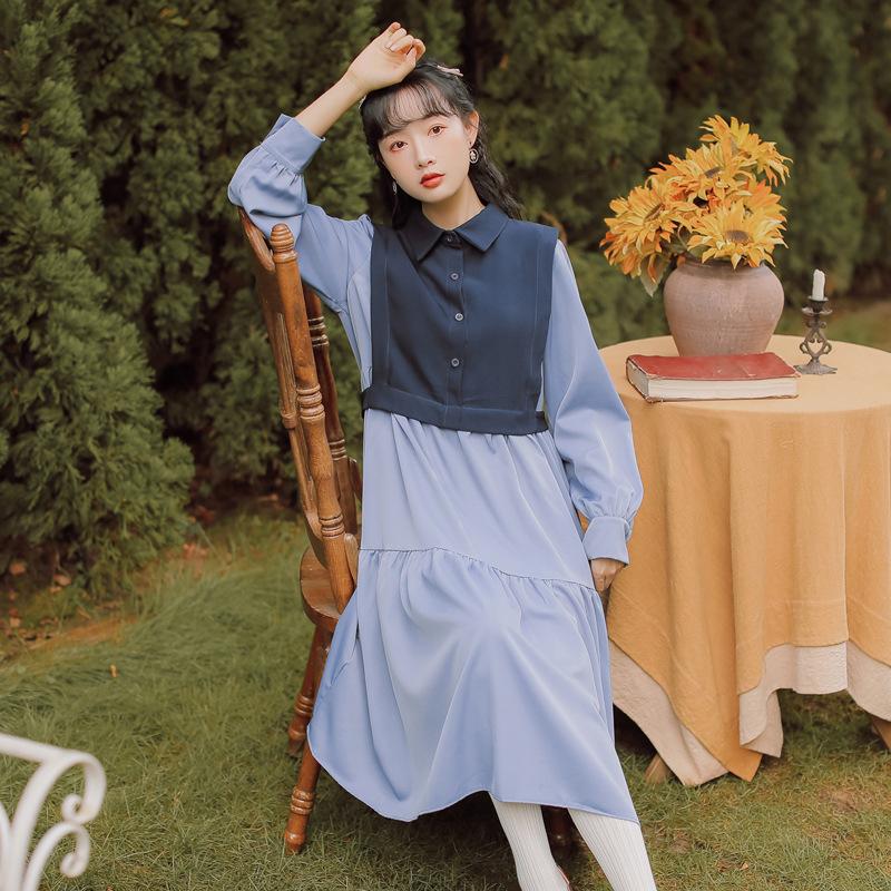 2020秋冬韩版简约文艺甜美学院风撞色拼接两件套马甲长袖连衣裙女