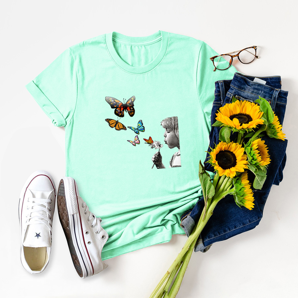 casual kids blowing dandelion shirt NSSN1660