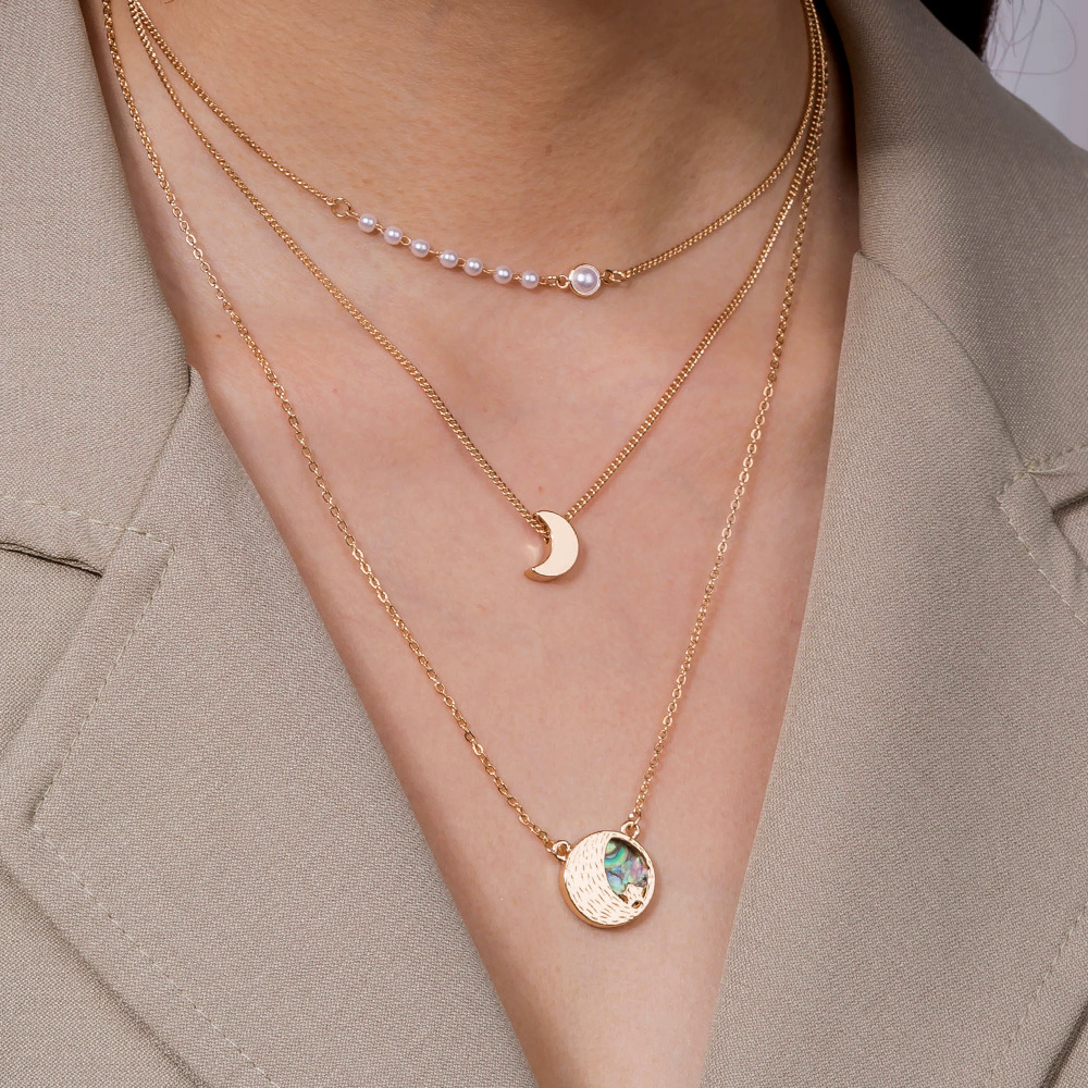 Fashion abalone shell five-pointed star moon multilayer women's necklace NHAN251857
