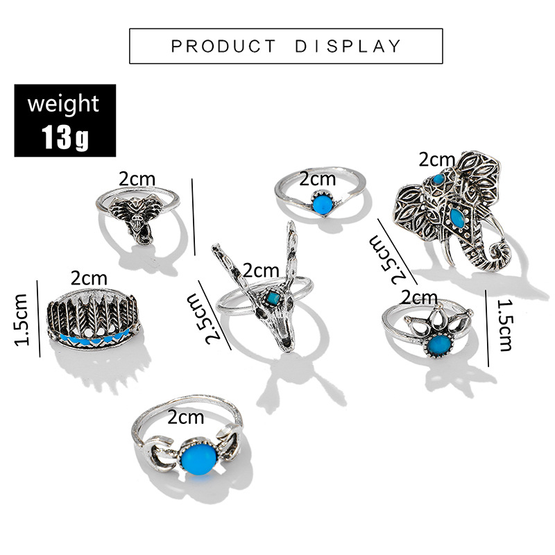 New jewelry animal deer head elephant ring 7 piece feather moon turquoise ring set NHGY202883