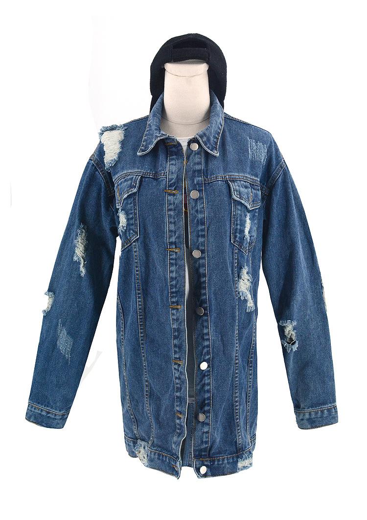 loose ripped long denim jacket   NSSY9498