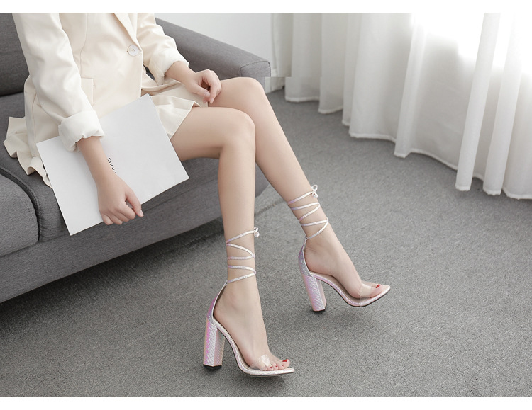 New women's shoes sexy high-heeled sandals thick heel strap women's shoes wholesale NHSO197452
