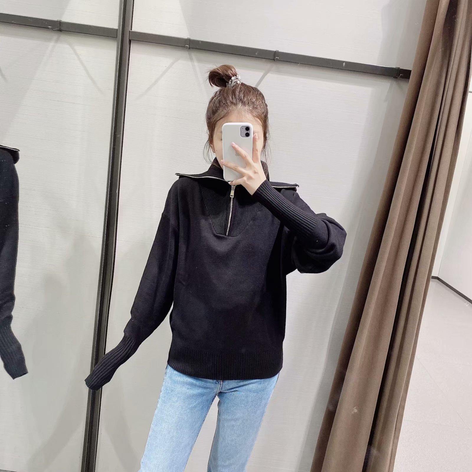 wholesale autumn zipper big lapel women's sweater NSAM4249