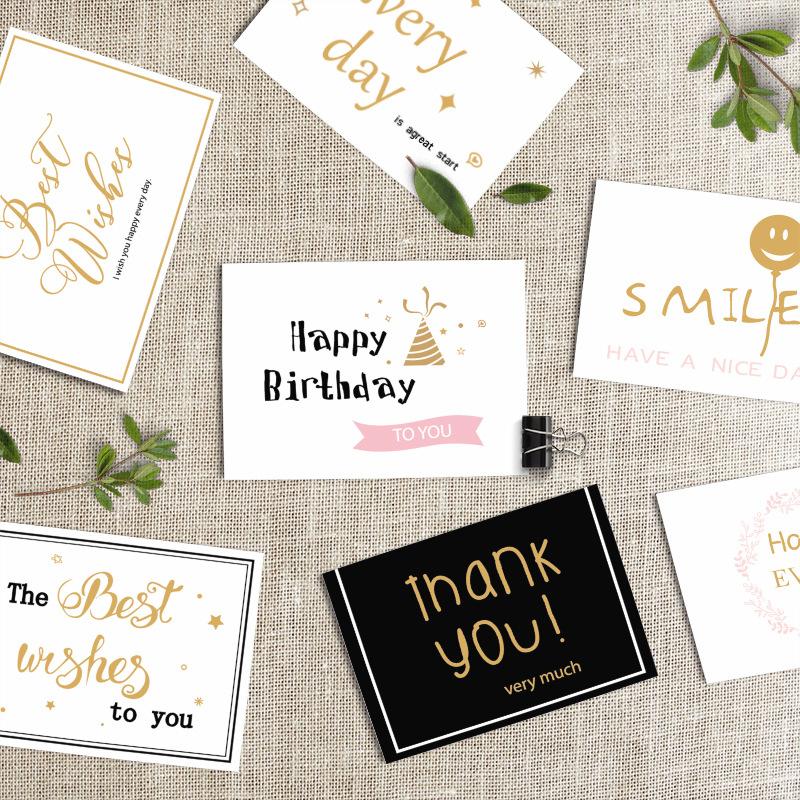 30张韩国创意贺卡商务生日祝福diy卡片烫金新年教师节日感谢贺卡