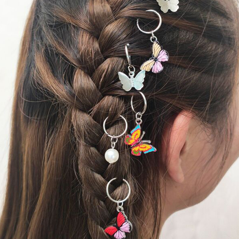 Fashion headdress personalized street shooting braid trend headdress butterfly DIY pendant hair accessories hair clip NHNZ217171
