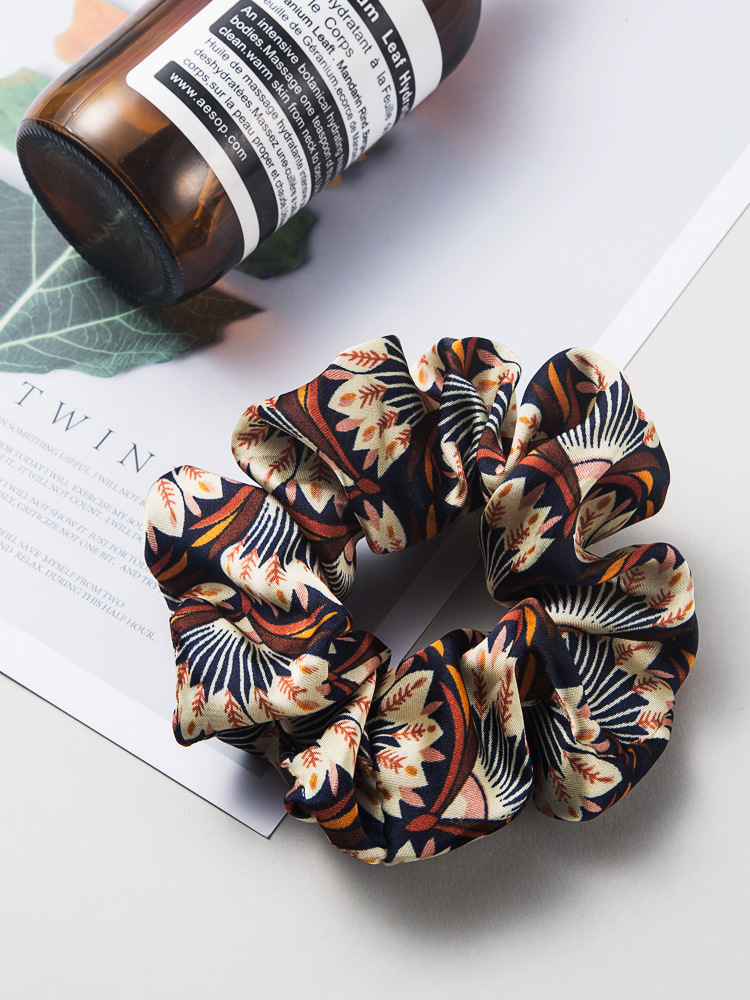 Fashion mixed color flower cloth hair ring female Korean rubber band cheap head rope wholesale NHLN204431