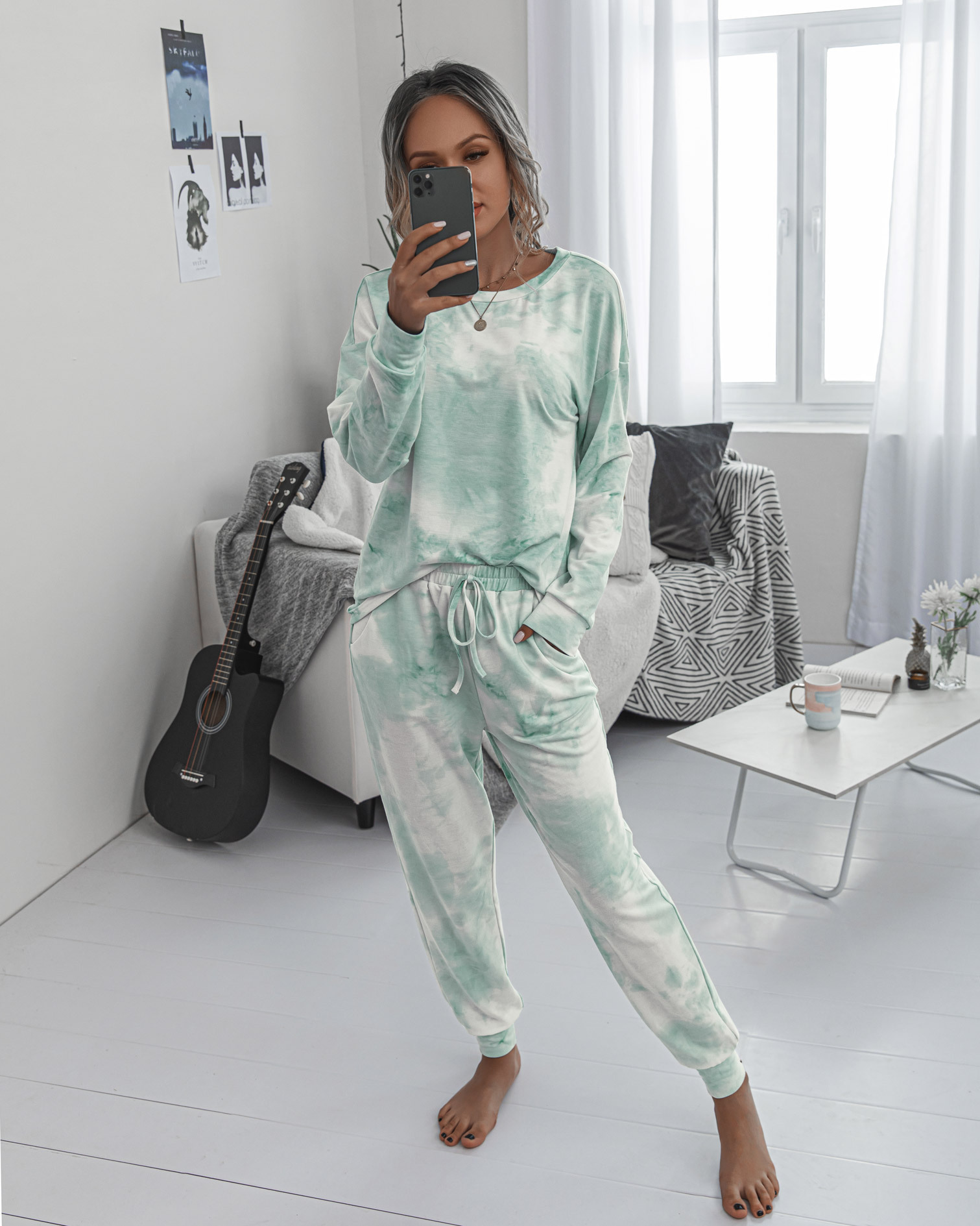 new printing autumn and winter ladies round neck casual long sleeve women s sports suit NSYF863