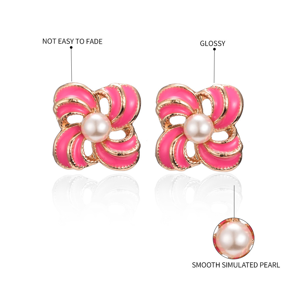 Korean new candy-colored earrings dripping oil and pearl sweet earrings NHMD204437