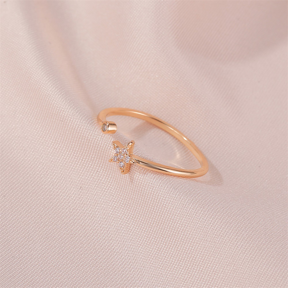 new ring simple five-pointed star ring personality wild diamond-set star opening student ring wholesale nihaojewelry  NHMO219172