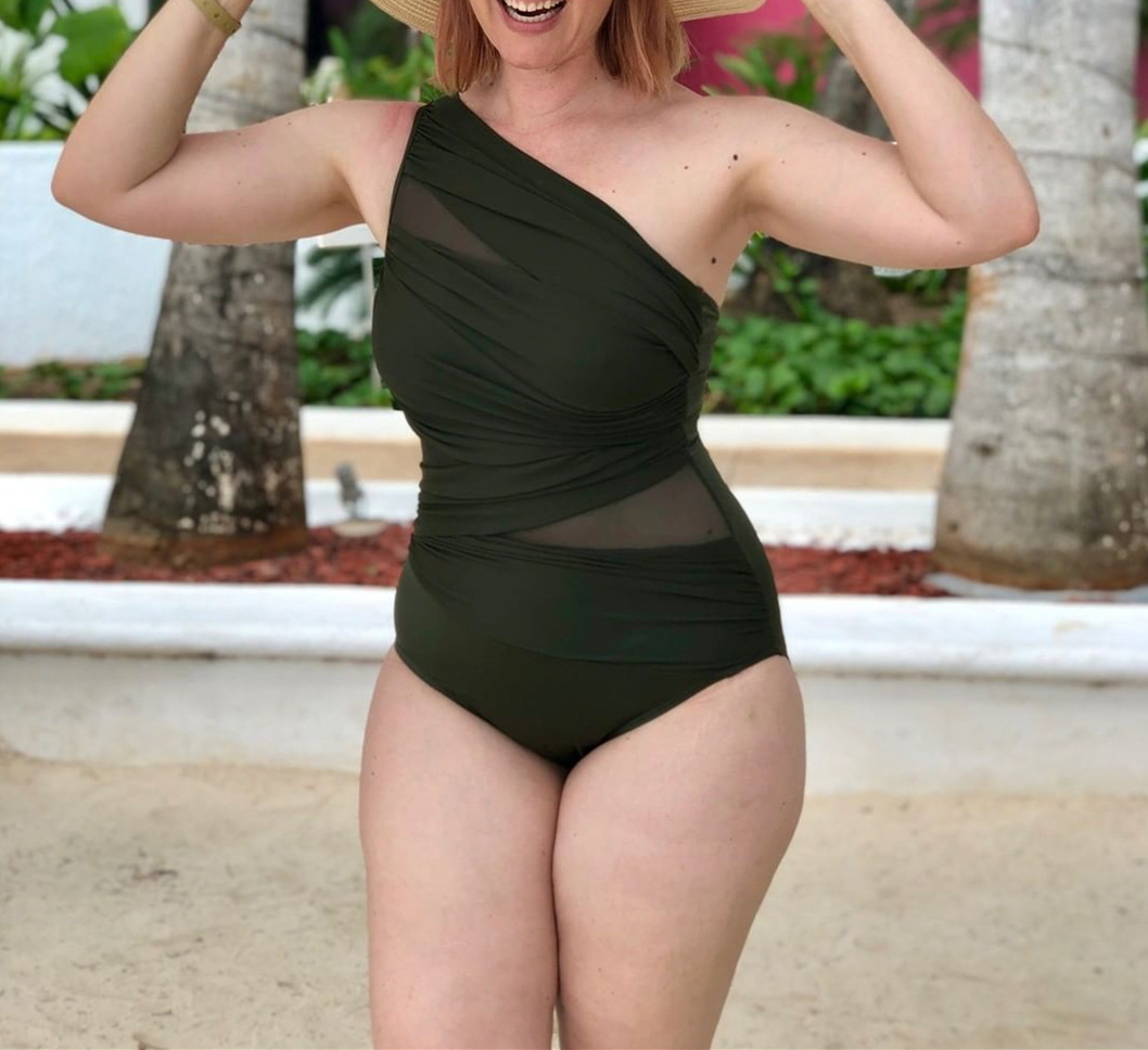 New one-piece swimsuit conservative solid color slim swimsuit NHHL203284