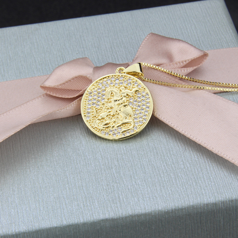 Hot sale gold plated knight necklace NHBP195313