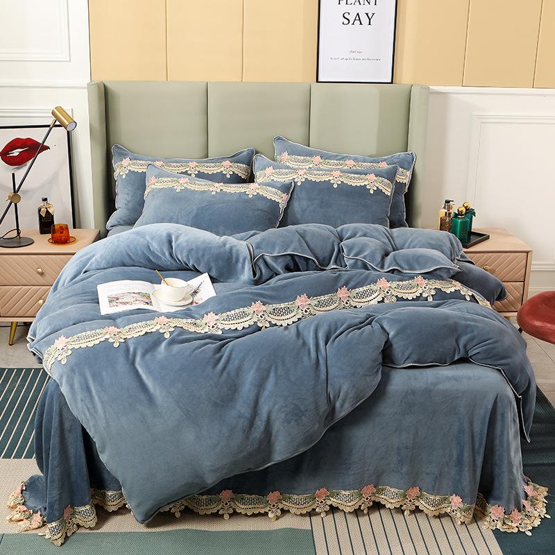 冬季加绒加厚保暖牛奶绒花边四件套1.8x2.0m床裙被套床单床上用品