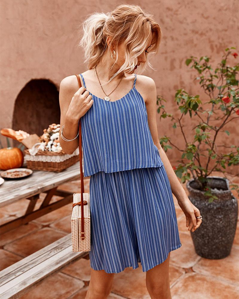 summer striped suspender casual jumpsuit  NSKA988