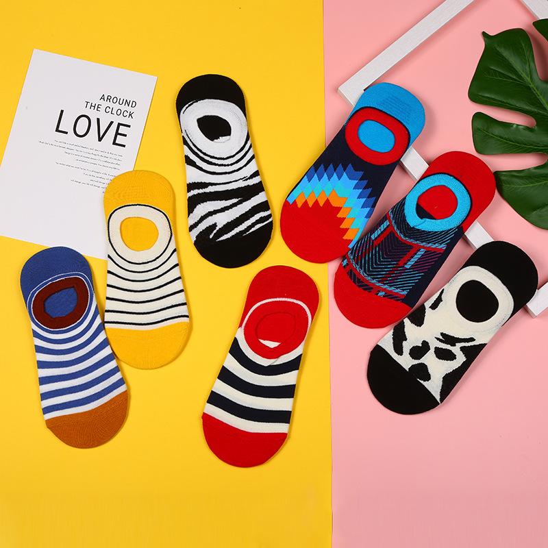 Unisex / men and women can casual striped short tube (boat socks) socks