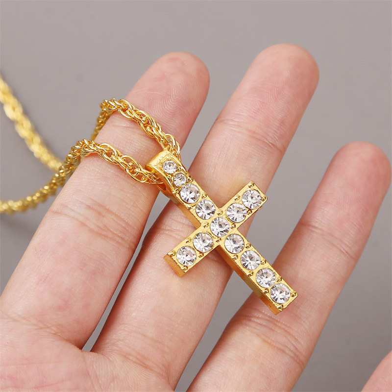 Long cross alloy point diamond hiphop style trend pendant necklace jewelry NHLA260013