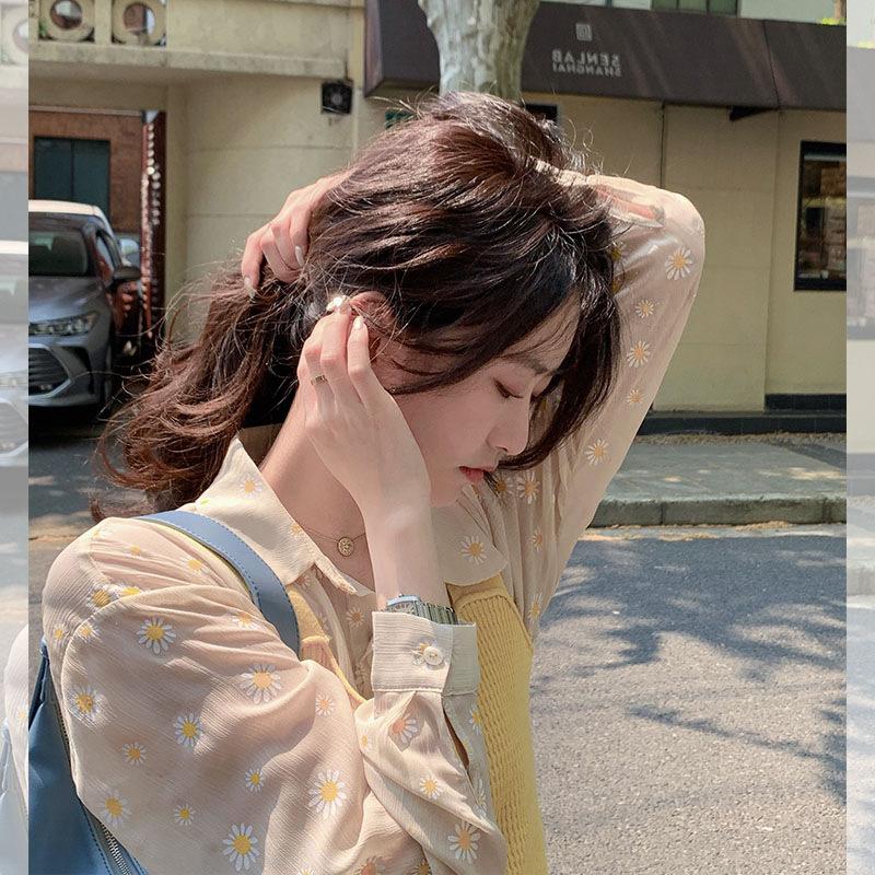 《夏日浪漫小雏菊》印花透感慵懒衬衫长袖上衣潮一件代发女装网红