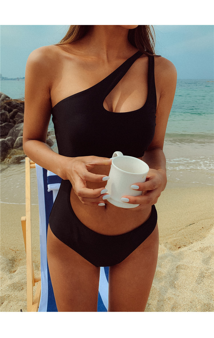 one-piece sexy hollow open back thin solid color one-shoulder swimsuit   NSHL3995