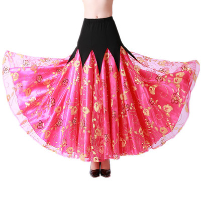 Ballroom dance skirts for women Modern dance skirt competition social dance big Swing Skirt Waltz long skirt national standard Sequin dance skirt