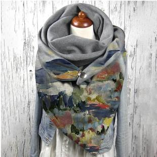 A large number of stock AliExpress Fashion simple and versatile thick warmth shawl printed bib