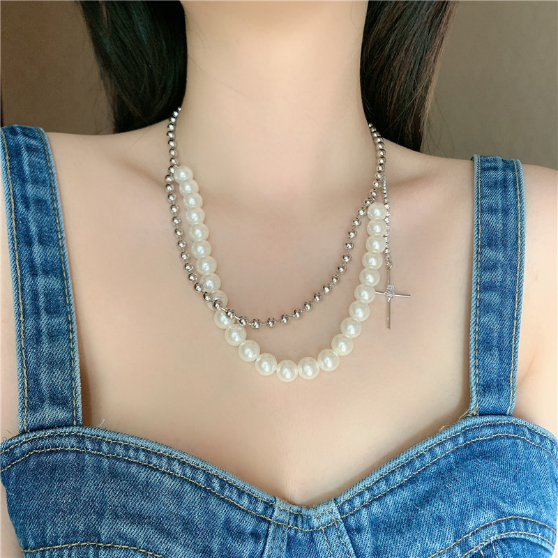 retro pearl double round bead cross diamond short clavicle chain necklace for women NHYQ247059
