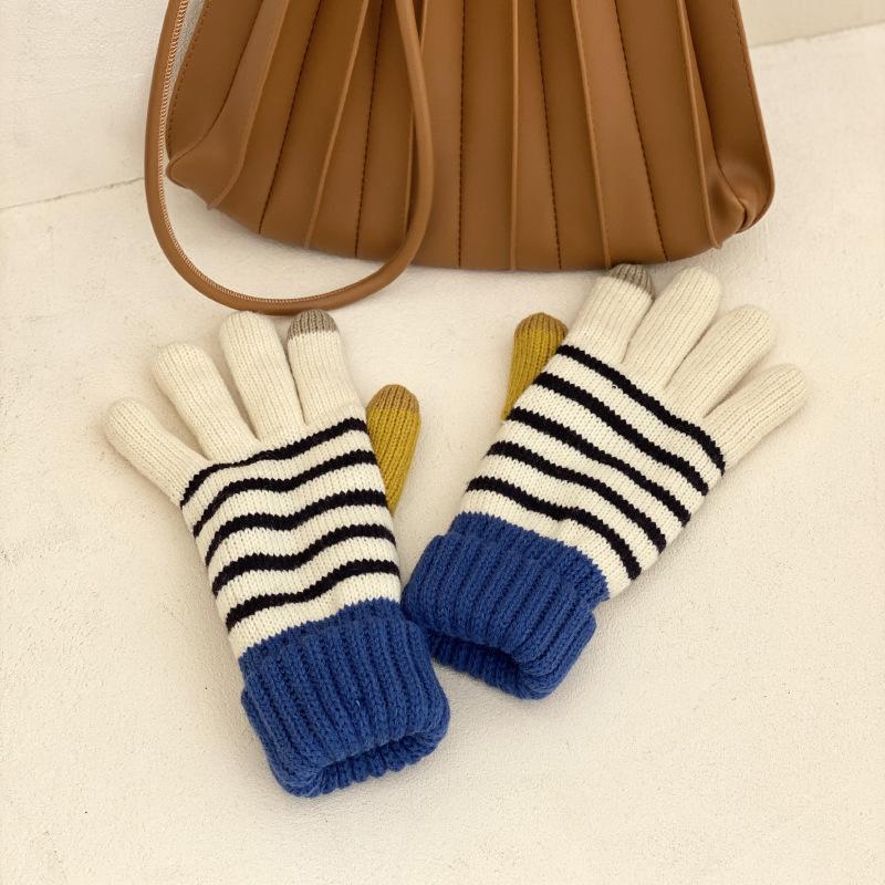 韩国东大门手套女冬天保暖可爱毛线拼色条纹触屏加绒加厚少女学生