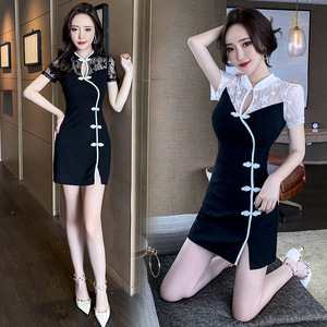 Retro cheongsam sexy night club performance dress bar KTV slim skirt lace stitching nightclub women's clothing