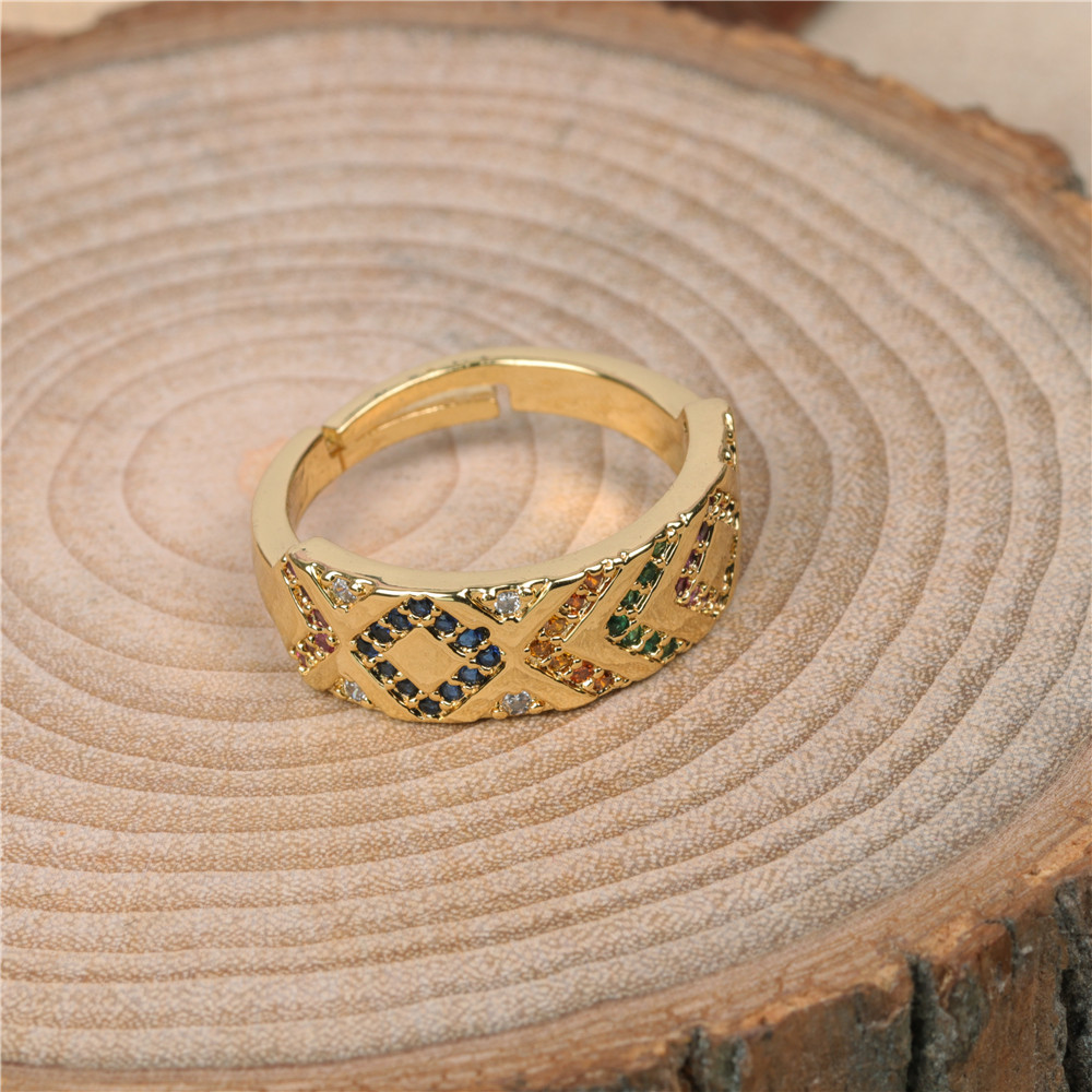 new micro-set color diamond pattern wide ring men and women couples trendy index finger ring wholesale nihaojewelry NHPY219307