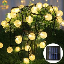 LED彩灯20灯30灯气泡球太阳能灯串 花园庭院聚会装饰圣诞串灯现货