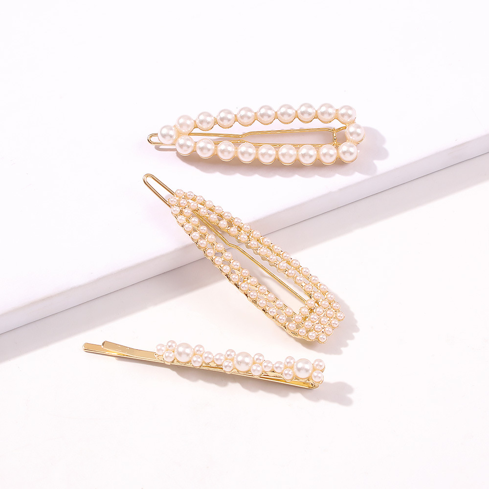 imitation pearl hair clips side clip holiday leisure hair accessories set hot wholesale nihaojewelry NHMD234078