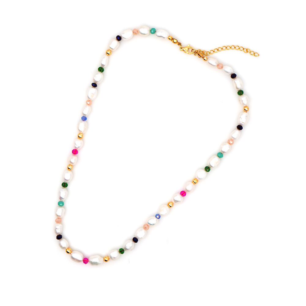 Simple Color Crystal Pearls Natural Baroque Pearl Necklace for women NHGW213150