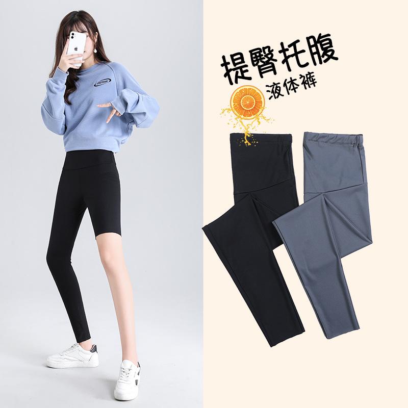 2021孕妇打底裤外穿夏秋冬天款紧身瘦腿芭比春秋薄鲨鱼皮瑜伽裤