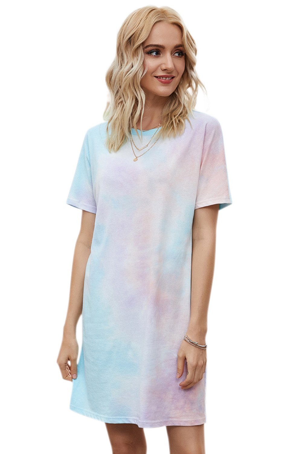 spring and summer new women's hot sale round neck short sleeve gradient dress  NSDF1295