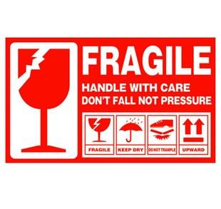 易碎标签 英文 易碎品警示贴纸 外贸物流唛头 快递易碎品不干胶