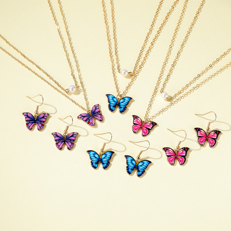 New fashion butterfly necklace color double pearl butterfly necklace elegant butterfly earring set wholesale NHMO213996