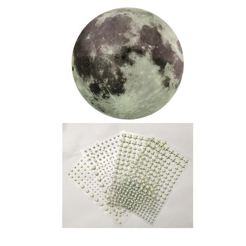 30cm primary color luminous moon 3D luminous stars dots bubble stickers children's room decoration cartoon fluorescent stickers