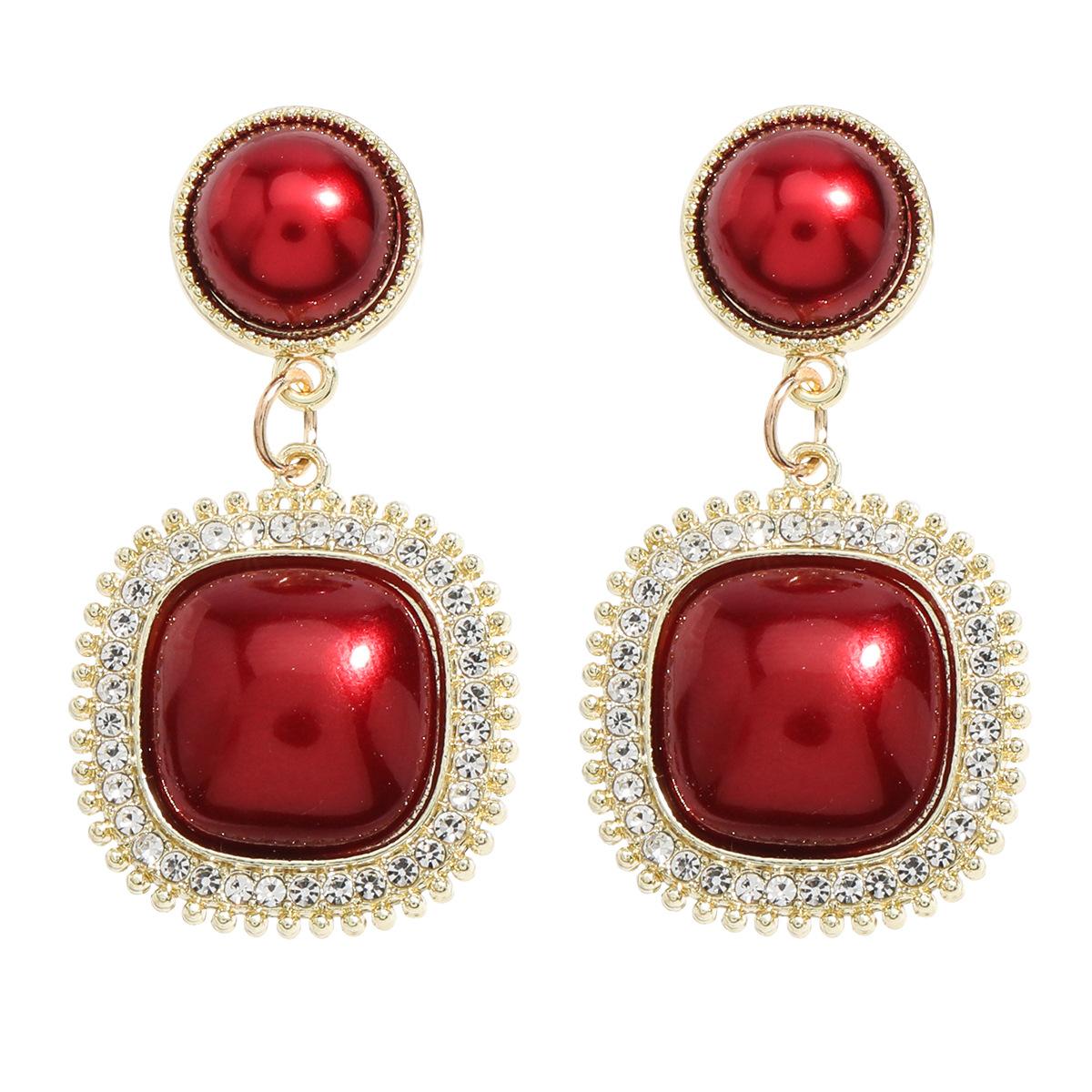 Personality simple alloy acrylic diamond resin earrings NHJE259035
