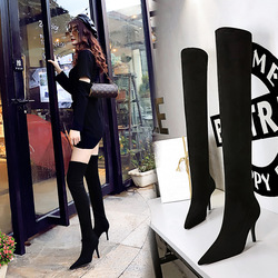 9822-2 European and American style simple winter boots wine glass heel high heel pointed suede sexy thin Knee Boots