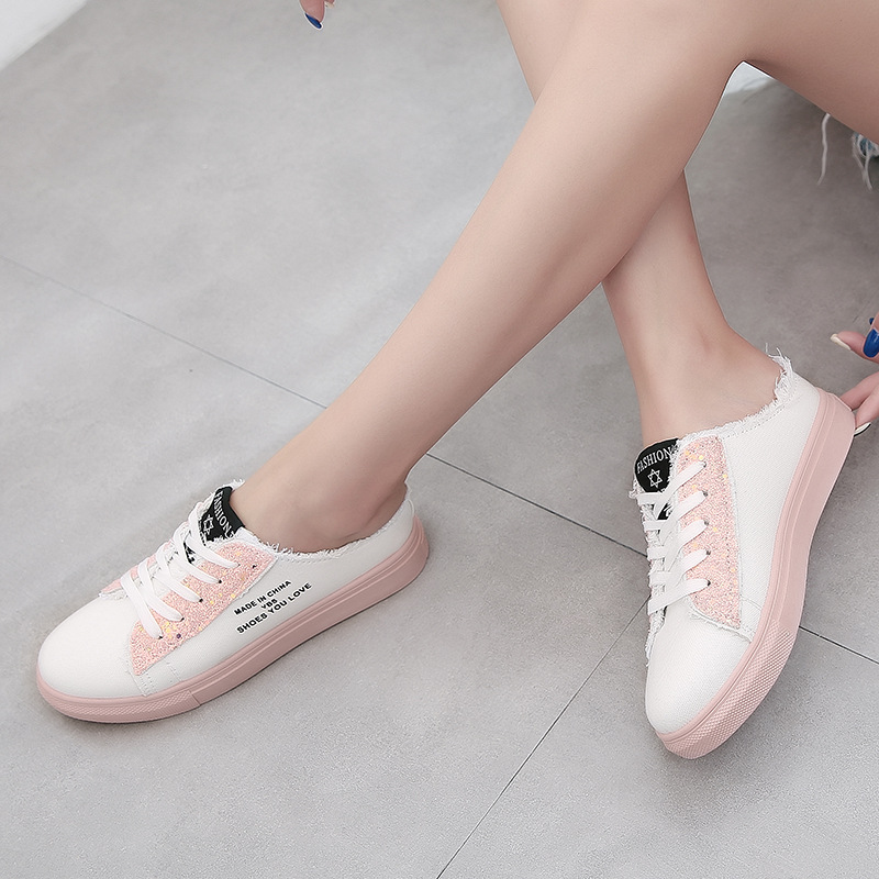 New Korean fashion sequins half drag student canvas shoes comfortable trend wave pattern burst wholesale nihaojewelry NHYR221838