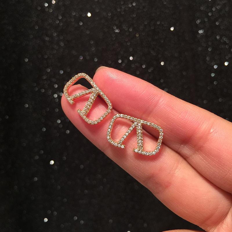 Letter earrings for women front and back double-sided simple hoop earrings S925 silver pin earrings NHWK206094