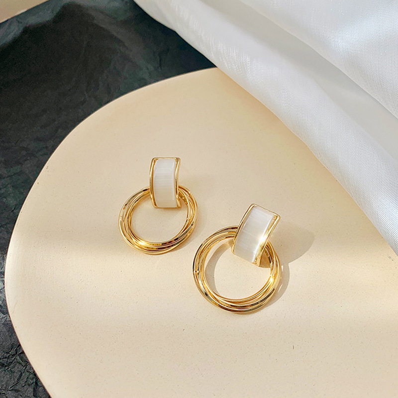 s925 silver needle Korea geometric round earrings opal earrings simple ear jewelry wholesale nihaojewelry NHXI229766