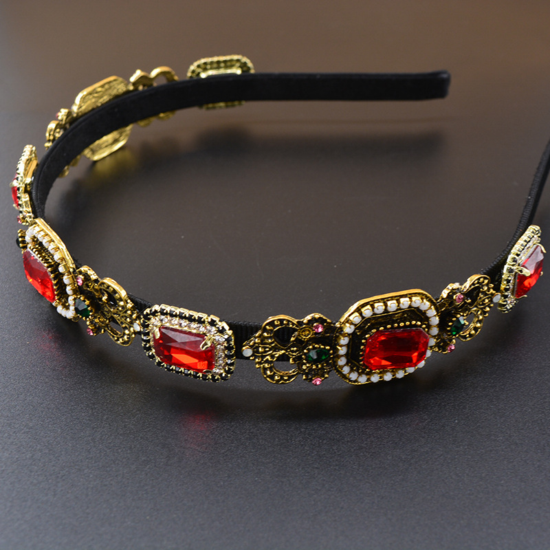 New Baroque square colored gemstone diamond palace cheap headband wholesale NHNT210994